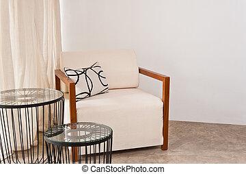clair, fauteuil, salle de séjour, blanc