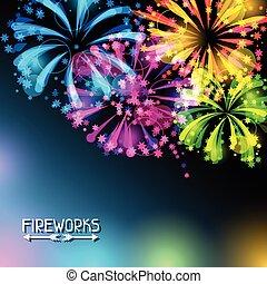 clair, feux artifice, fond, coloré, salut