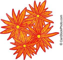 clair, fleurs, dessin animé