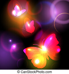 clair, fond, papillons