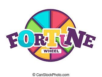clair, fortune, roue, fait, de, coloré, segments, emblème