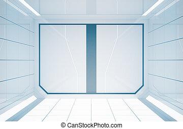 clair, futuriste, intérieur