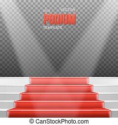 clair, l, podium, vecteur, photorealistic, escalier, moquette rouge