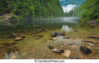 clair, lac, à, rochers, et, brume, dans, distance