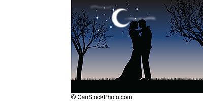 clair lune, baiser