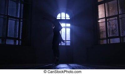 clair lune, ballet, lent, pratiquer, silhouette., mouvement, gracieux, girl, studio