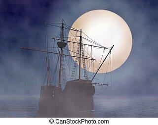 clair lune, bateau, brouillard, pirate