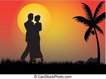 clair lune, couple, entiers