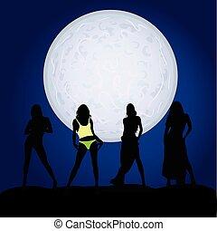 clair lune, girl, silhouette, illustration