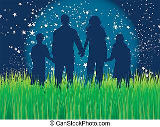 clair lune, marche, famille