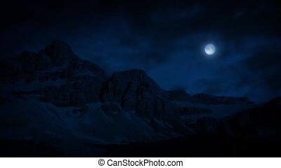 clair lune, montagnes, nuit