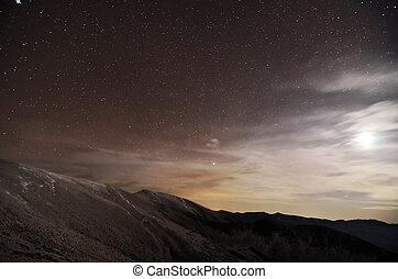 clair lune, montagnes, paysage, nuit