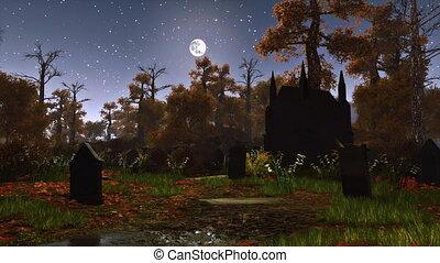 clair lune, nuit, abandonnés, cimetière, 4k