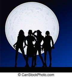 clair lune, sexy, girl, vecteur