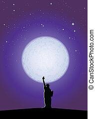 clair lune, statue, liberté