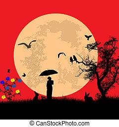 clair lune, sur, femme, lapins, paysage
