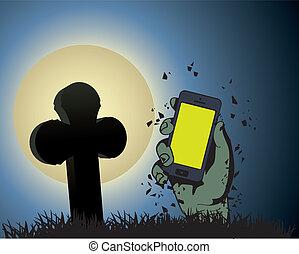 clair lune, zombi, tenant téléphone, main
