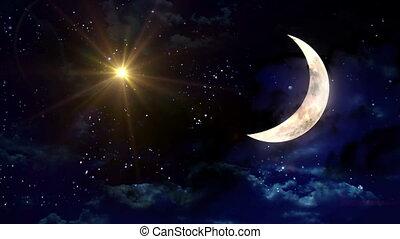 clair, moitié, étoile, lune jaune