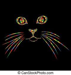 clair, mosaïque, chat, museau