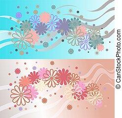 clair, multi-coloré, fleurs, fond, ribbons.