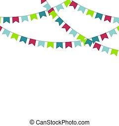 clair, multicolore, buntings, garlands.