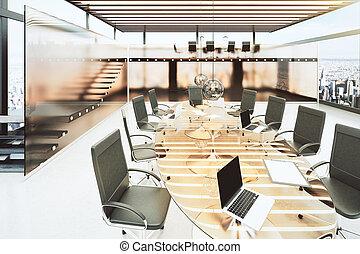 clair, noir, moderne, chaises bureau, table, salle, réunion, verre