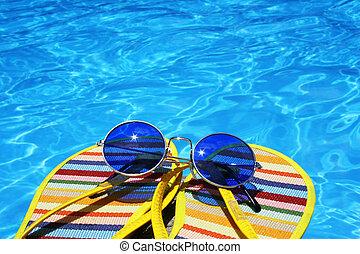 clair, piscine, vue