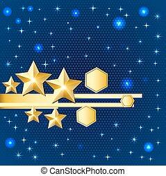clair, résumé, étoiles, or, fond