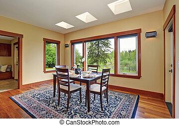 clair, salle manger, conception intérieur, à, élégant, arrangement tableau
