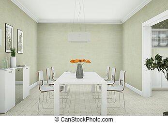 clair, salle manger, conception intérieur, dans, moderne, appartment