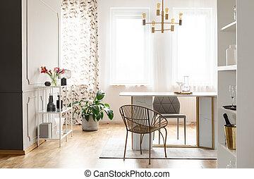 clair, salle manger, intérieur, à, a, table, chaises, plante, et, windows., vrai, photo