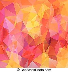 clair, vecteur, rose, -, triangulaire, polygonal, jaune, couleurs, magenta, conception, fond, orange, rouges