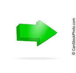 clair, vert, flèche, 3d