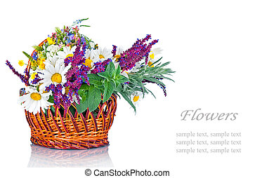 clair, wildflowers, panier, bouquet, beau