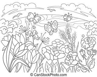clairière, childrens, dessin animé, fleurs, coloration, ...