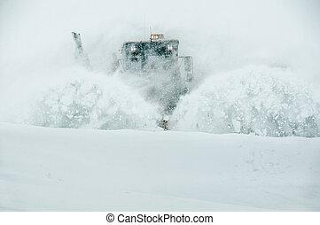 clairière, fermé, neige, route