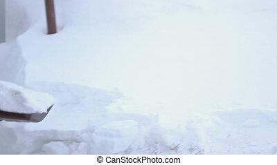 clairière, pelle, neige
