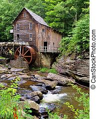 clairière, ruisseau, grist, moulin