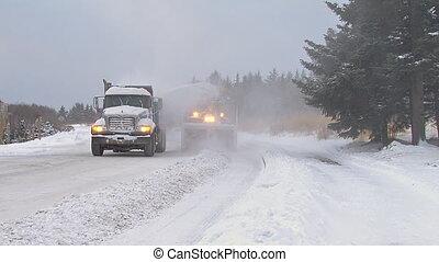 clairière, snowblower, rue, camion, &