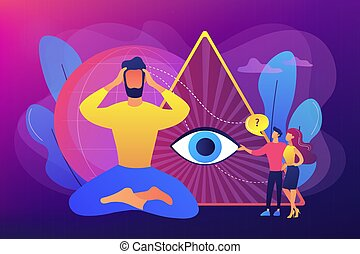 Enlightenment and future prediction metaphor. Clairvoyance ability, clairvoyant psychic services, spiritual angelic and psychic help concept. Bright vibrant violet vector isolated illustration