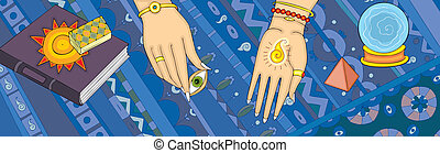 Clairvoyance Tell Fortunes Hand Banner - Hands of the...