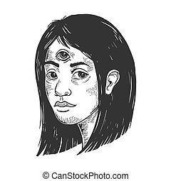 Clairvoyant woman with three eyes forehead vintage sketch engraving vector illustration. Scratch board style imitation. Black and white hand drawn image.