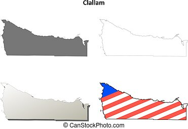 Clallam County, Washington outline map set