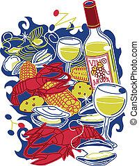 Stylized art of a colorful shellfish feast