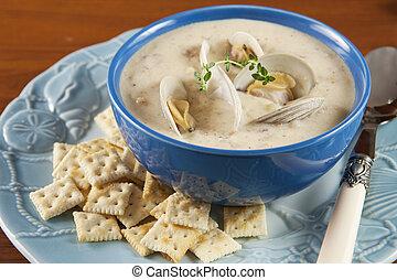 Clam chowder  - A bowl of New England clam chowder soup