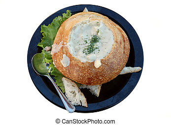 Clam chowder made in original way isolated over white