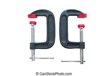 great red g clamp on white background