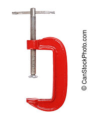 Clamp - Tool - red clamp isolated on white background