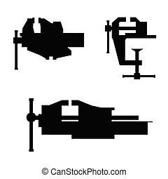 Clamp set Illustration in black color