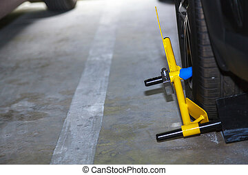 Clamp vehicle, wheel lock, Car was locked with clamped ...